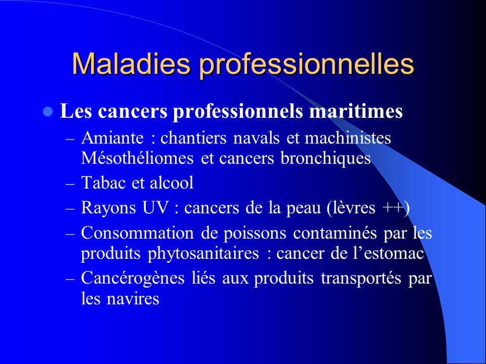 Maladies professionnelles Les cancers professionnels maritimes – Amiante : chantiers navals et machinistes Mésothéliomes et cancers bronchiques – Taba