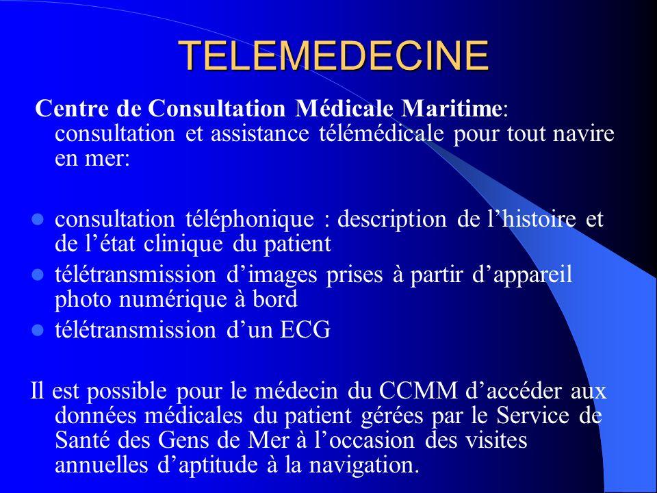 TELEMEDECINE Centre de Consultation Médicale Maritime: consultation et assistance télémédicale pour tout navire en mer: consultation téléphonique : de