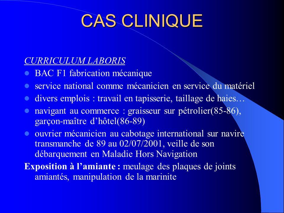 CAS CLINIQUE CURRICULUM LABORIS BAC F1 fabrication mécanique service national comme mécanicien en service du matériel divers emplois : travail en tapi