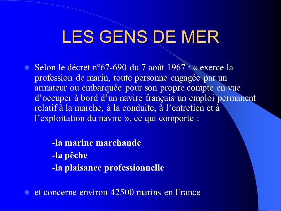 LES GENS DE MER Selon le décret n°67-690 du 7 août 1967 : « exerce la profession de marin, toute personne engagée par un armateur ou embarquée pour so