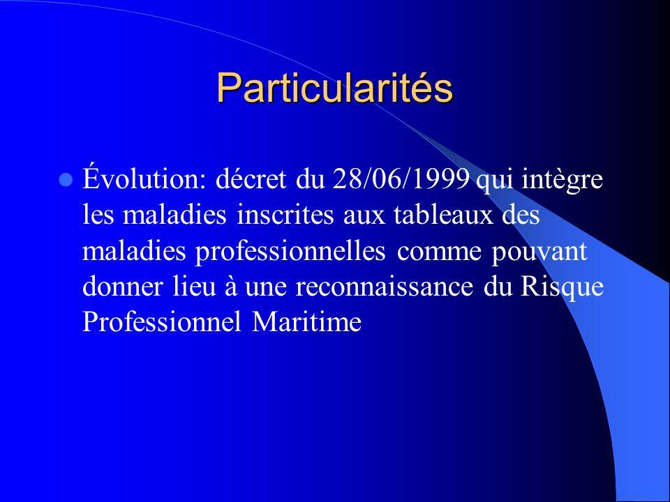 Particularités Évolution: décret du 28/06/1999 qui intègre les maladies inscrites aux tableaux des maladies professionnelles comme pouvant donner lieu