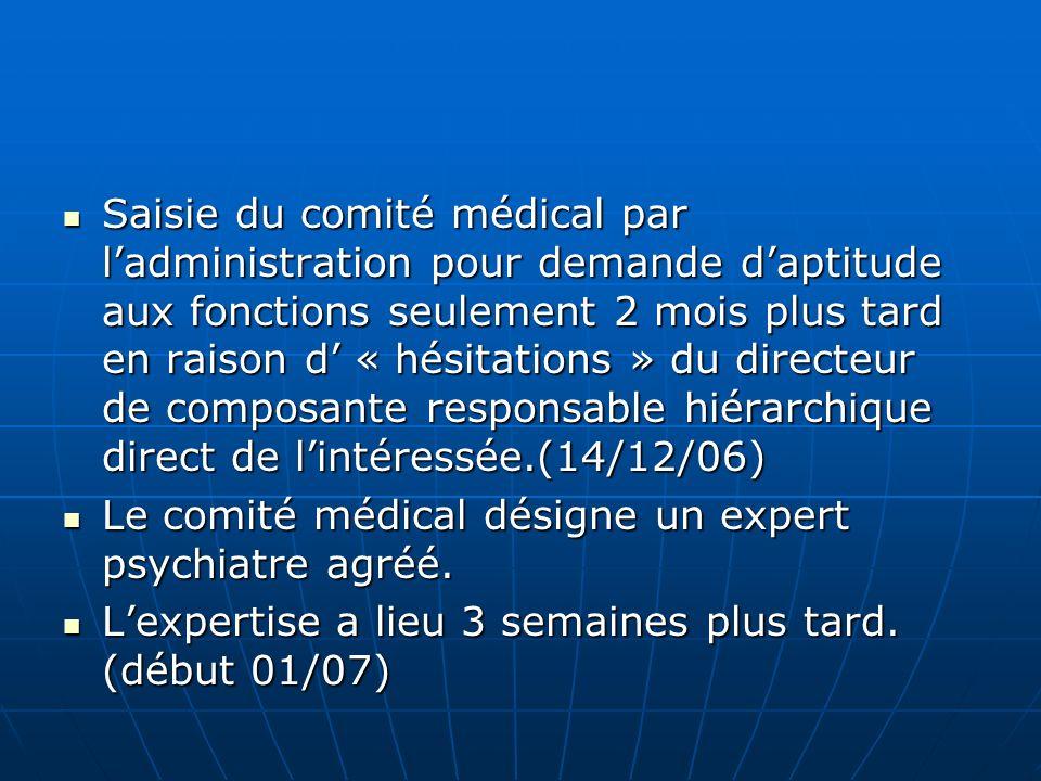 Saisie du comité médical par ladministration pour demande daptitude aux fonctions seulement 2 mois plus tard en raison d « hésitations » du directeur