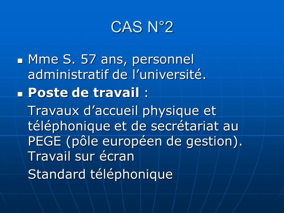 CAS N°2 Mme S. 57 ans, personnel administratif de luniversité. Mme S. 57 ans, personnel administratif de luniversité. Poste de travail : Poste de trav