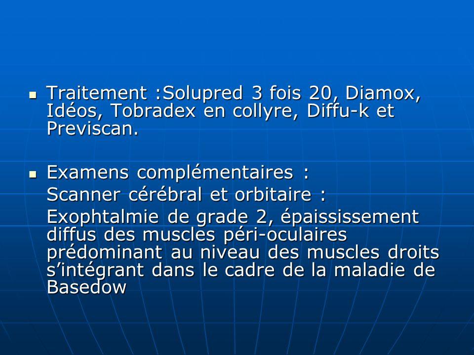 Traitement :Solupred 3 fois 20, Diamox, Idéos, Tobradex en collyre, Diffu-k et Previscan. Traitement :Solupred 3 fois 20, Diamox, Idéos, Tobradex en c