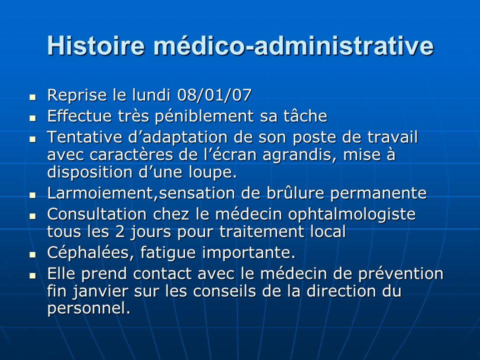 Histoire médico-administrative Reprise le lundi 08/01/07 Reprise le lundi 08/01/07 Effectue très péniblement sa tâche Effectue très péniblement sa tâc