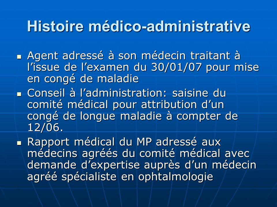 Histoire médico-administrative Agent adressé à son médecin traitant à lissue de lexamen du 30/01/07 pour mise en congé de maladie Agent adressé à son