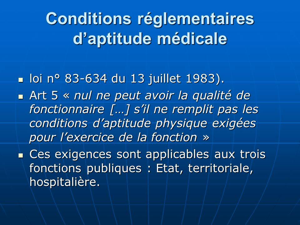 Conditions réglementaires daptitude médicale loi n° 83-634 du 13 juillet 1983). loi n° 83-634 du 13 juillet 1983). Art 5 « nul ne peut avoir la qualit