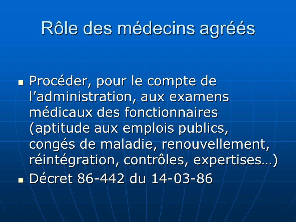 Rôle des médecins agréés Procéder, pour le compte de ladministration, aux examens médicaux des fonctionnaires (aptitude aux emplois publics, congés de
