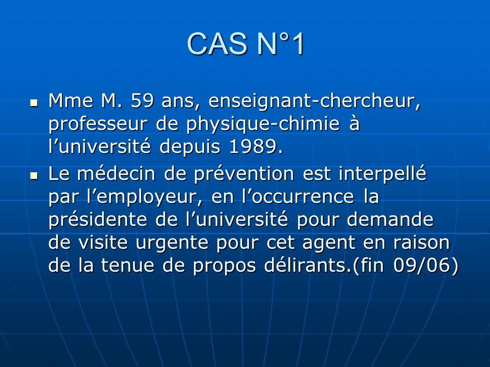 CAS N°1 Mme M. 59 ans, enseignant-chercheur, professeur de physique-chimie à luniversité depuis 1989. Mme M. 59 ans, enseignant-chercheur, professeur