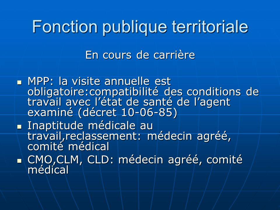 Fonction publique territoriale En cours de carrière MPP: la visite annuelle est obligatoire:compatibilité des conditions de travail avec létat de sant