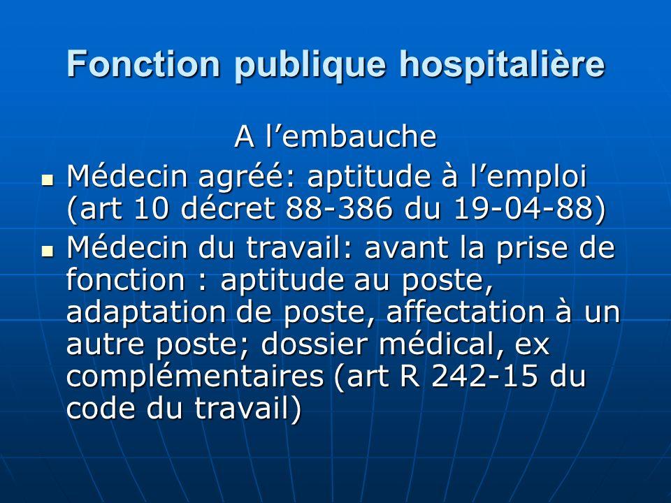 Fonction publique hospitalière A lembauche Médecin agréé: aptitude à lemploi (art 10 décret 88-386 du 19-04-88) Médecin agréé: aptitude à lemploi (art