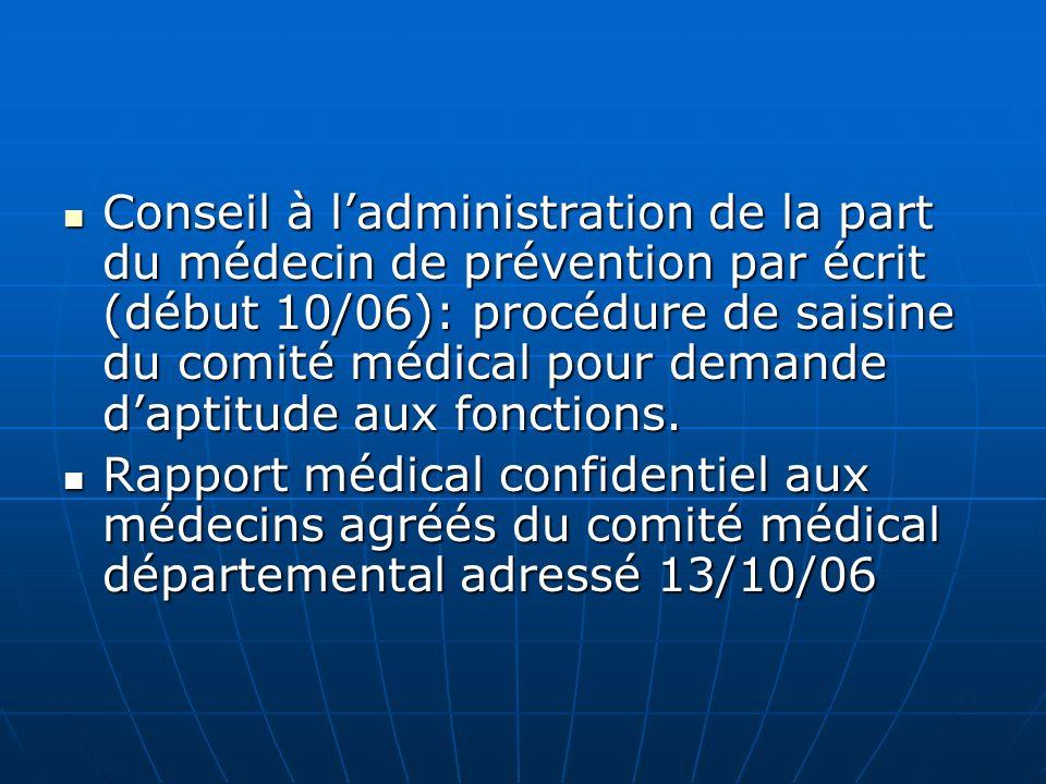 Conseil à ladministration de la part du médecin de prévention par écrit (début 10/06): procédure de saisine du comité médical pour demande daptitude a