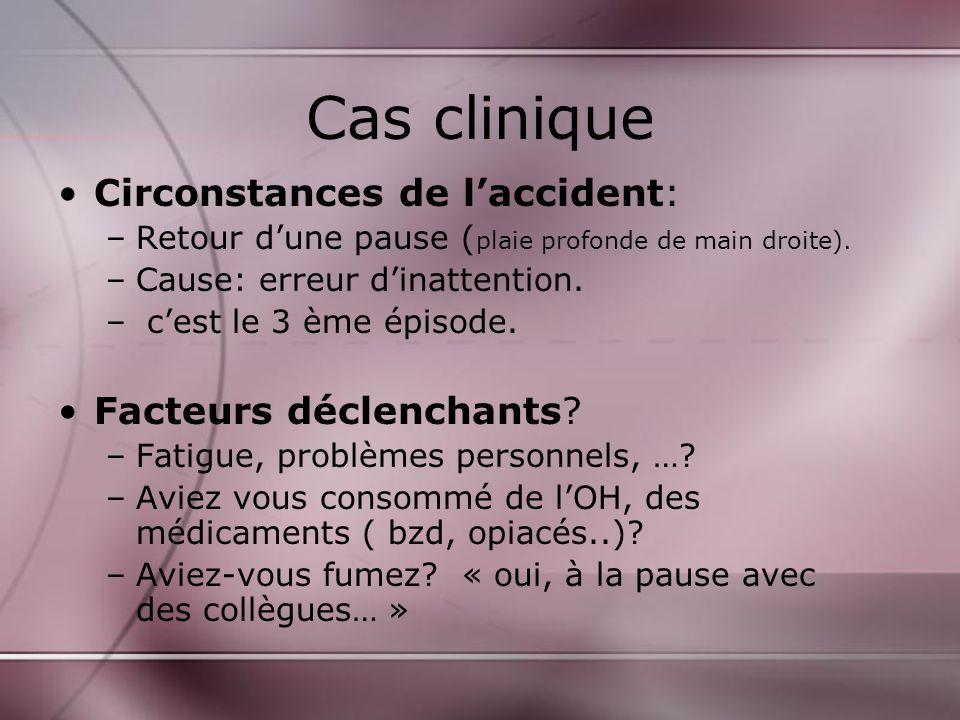 Cas clinique Circonstances de laccident: –Retour dune pause ( plaie profonde de main droite).