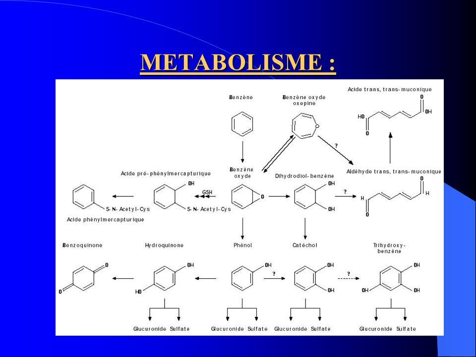 Au niveau hépatique et médullaire 1ère réaction : formation dépoxy benzène, catalysée par le système du cytochrome P450