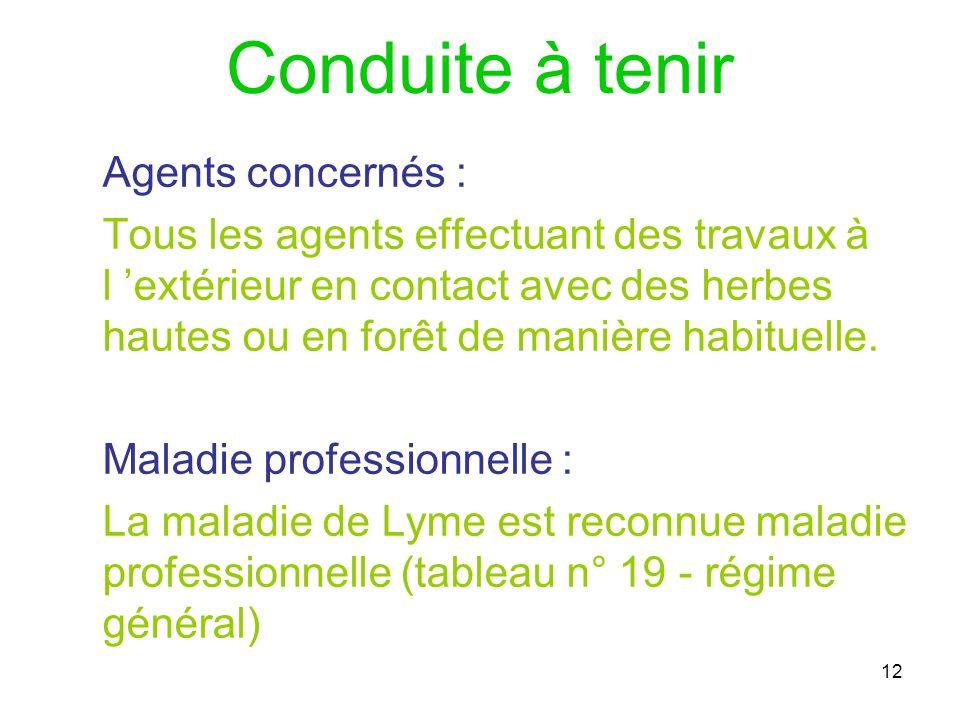 12 Conduite à tenir Agents concernés : Tous les agents effectuant des travaux à l extérieur en contact avec des herbes hautes ou en forêt de manière h