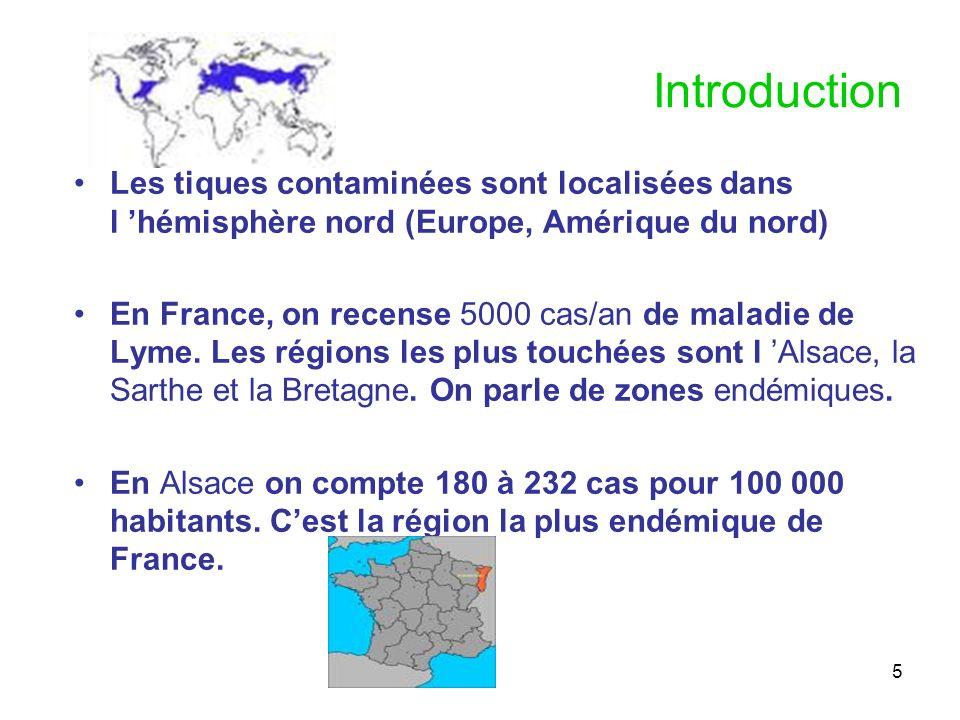 5 Introduction Les tiques contaminées sont localisées dans l hémisphère nord (Europe, Amérique du nord) En France, on recense 5000 cas/an de maladie d