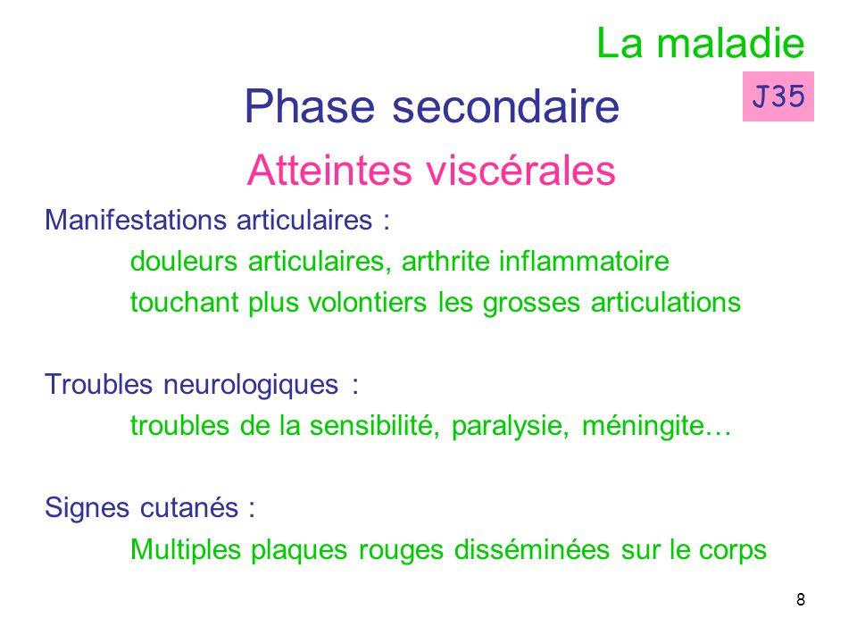 8 La maladie Phase secondaire Atteintes viscérales Manifestations articulaires : douleurs articulaires, arthrite inflammatoire touchant plus volontier