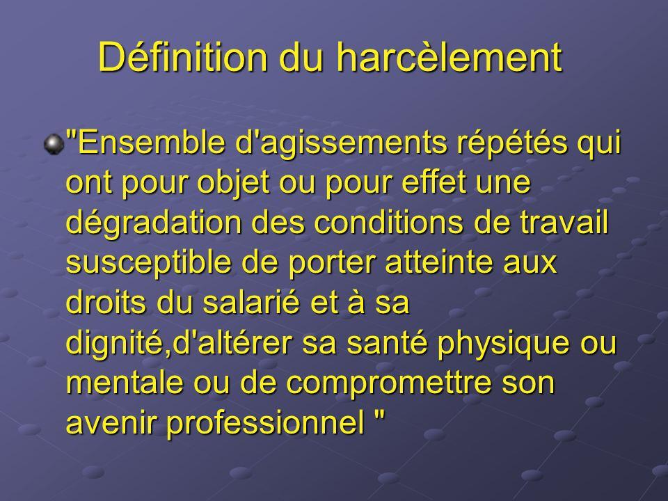 Définition du harcèlement
