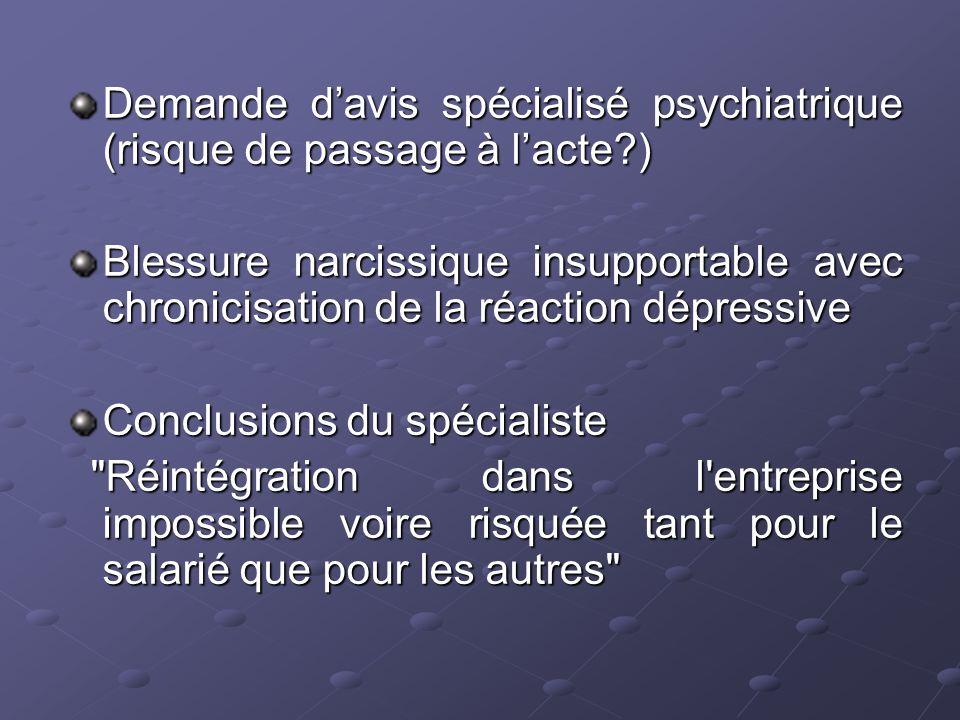 Demande davis spécialisé psychiatrique (risque de passage à lacte?) Blessure narcissique insupportable avec chronicisation de la réaction dépressive C
