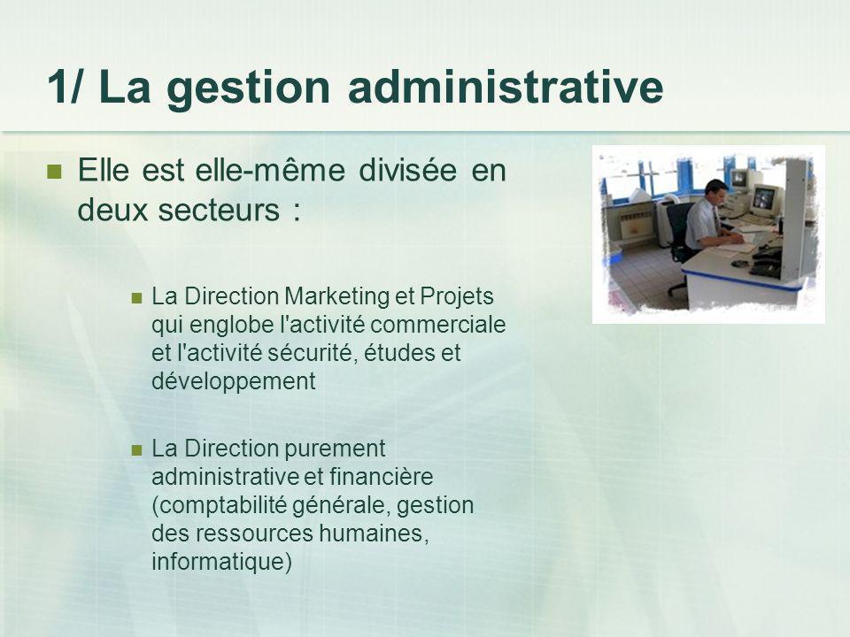 1/ La gestion administrative Elle est elle-même divisée en deux secteurs : La Direction Marketing et Projets qui englobe l'activité commerciale et l'a