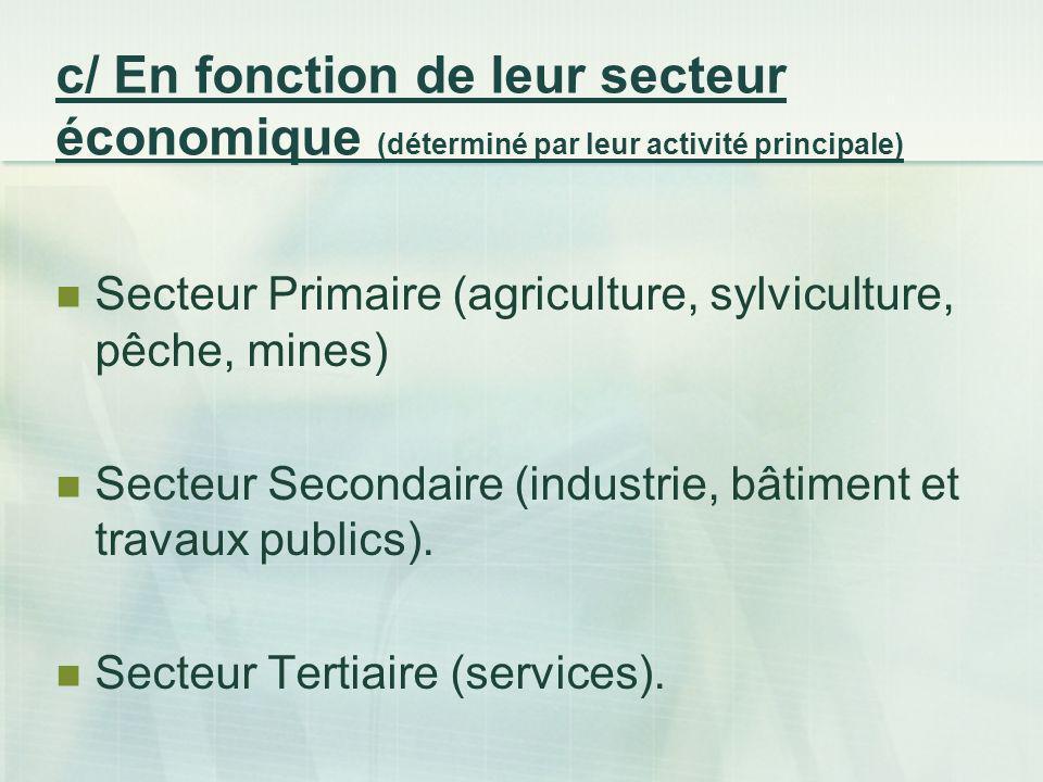 c/ En fonction de leur secteur économique (déterminé par leur activité principale) Secteur Primaire (agriculture, sylviculture, pêche, mines) Secteur