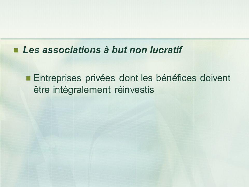 Les associations à but non lucratif Entreprises privées dont les bénéfices doivent être intégralement réinvestis