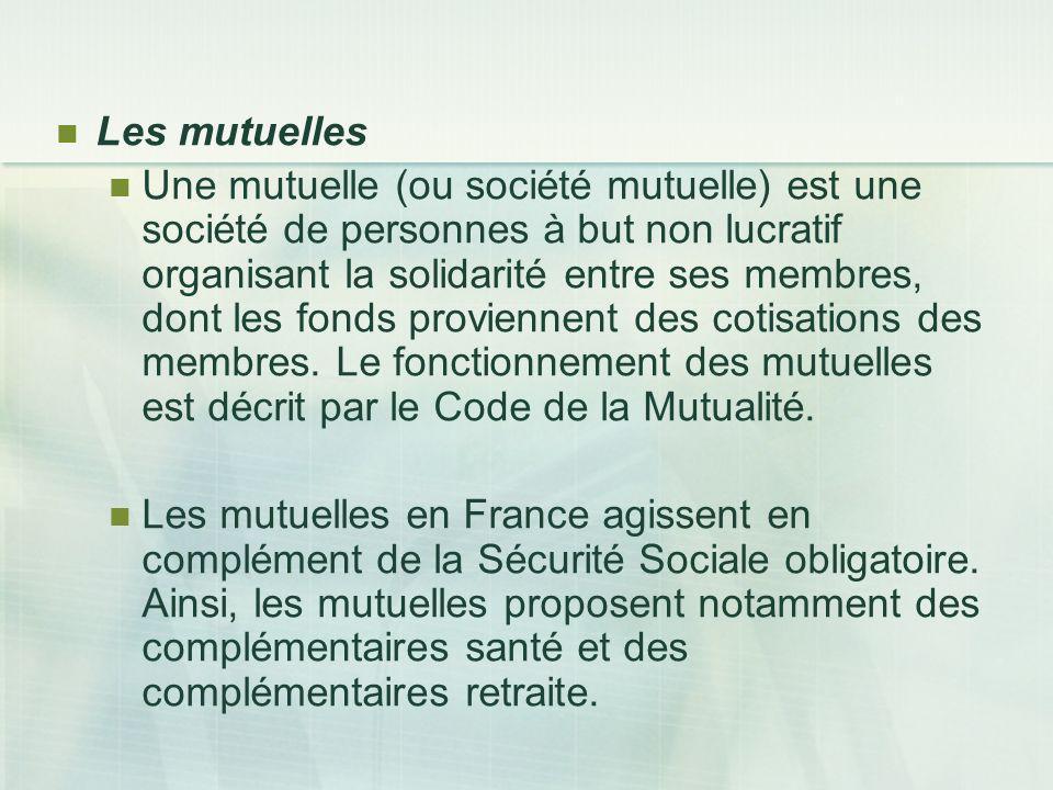 Les mutuelles Une mutuelle (ou société mutuelle) est une société de personnes à but non lucratif organisant la solidarité entre ses membres, dont les