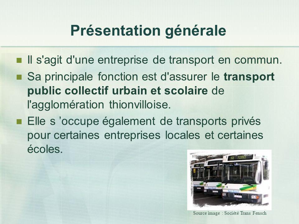 Présentation générale Il s'agit d'une entreprise de transport en commun. Sa principale fonction est d'assurer le transport public collectif urbain et