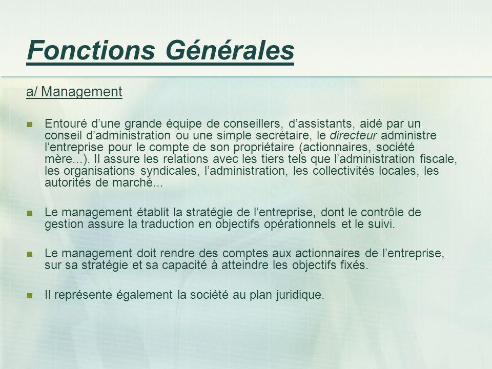 Fonctions Générales a/ Management Entouré dune grande équipe de conseillers, dassistants, aidé par un conseil dadministration ou une simple secrétaire