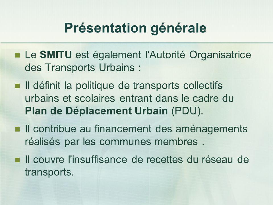 Présentation générale Le SMITU est également l'Autorité Organisatrice des Transports Urbains : Il définit la politique de transports collectifs urbain