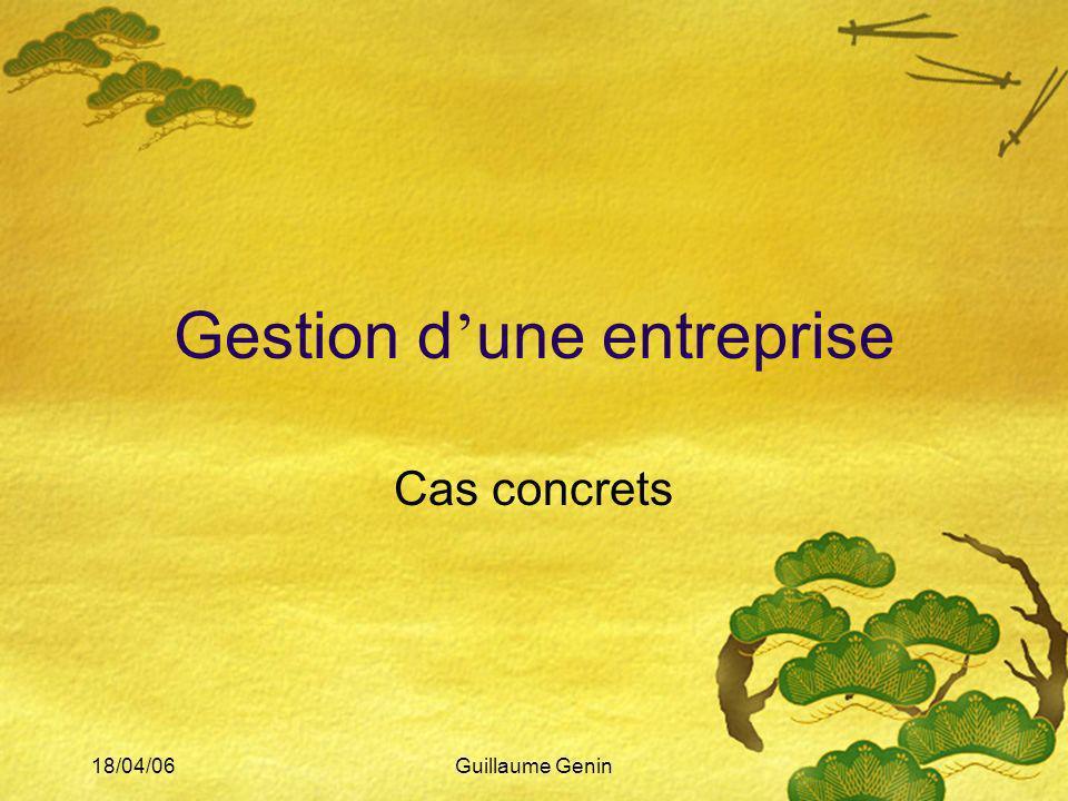 18/04/06Guillaume Genin Gestion d une entreprise Cas concrets