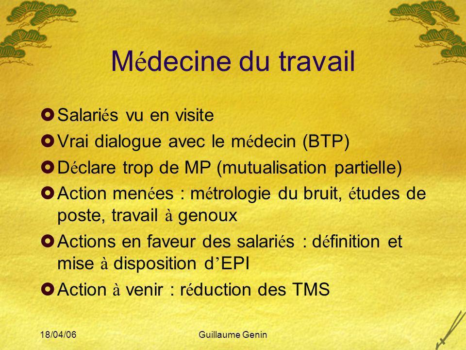 18/04/06Guillaume Genin M é decine du travail Salari é s vu en visite Vrai dialogue avec le m é decin (BTP) D é clare trop de MP (mutualisation partie
