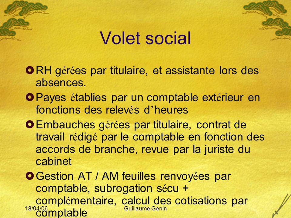 18/04/06Guillaume Genin Volet social RH g é r é es par titulaire, et assistante lors des absences. Payes é tablies par un comptable ext é rieur en fon