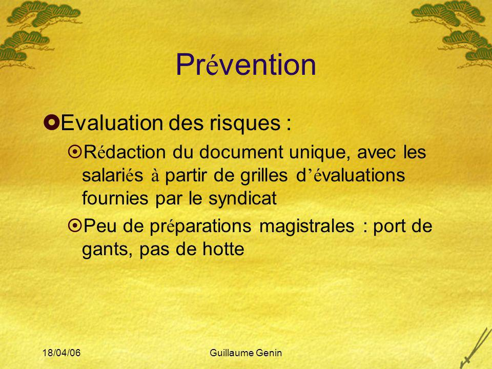 18/04/06Guillaume Genin Pr é vention Evaluation des risques : R é daction du document unique, avec les salari é s à partir de grilles d é valuations f