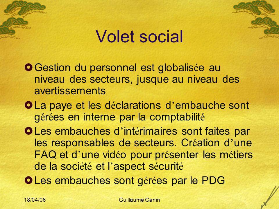 18/04/06Guillaume Genin Volet social Gestion du personnel est globalis é e au niveau des secteurs, jusque au niveau des avertissements La paye et les