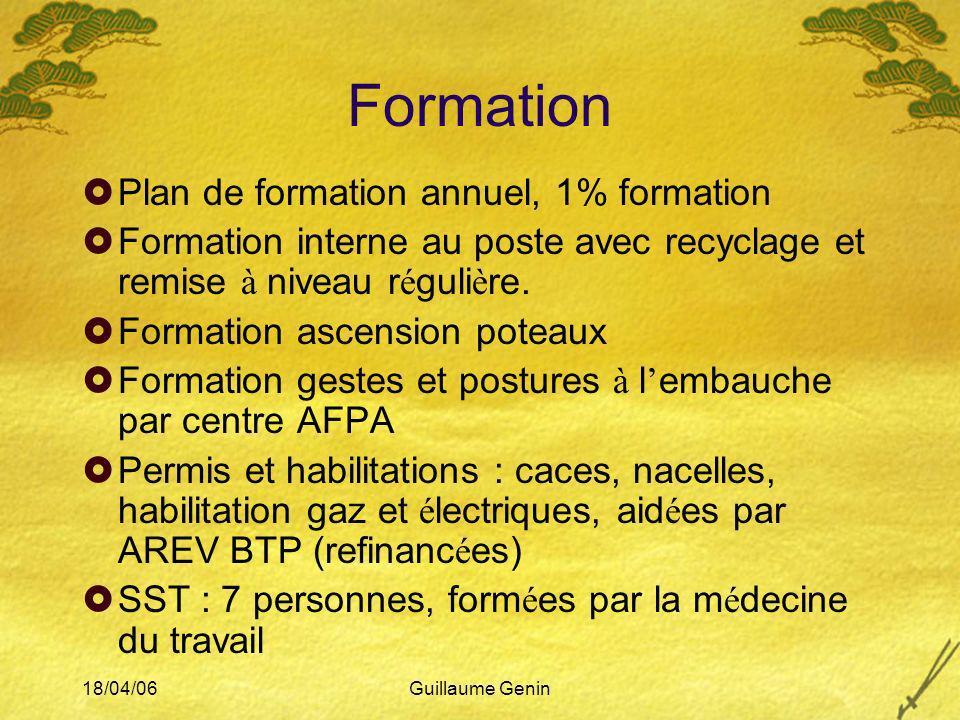 18/04/06Guillaume Genin Formation Plan de formation annuel, 1% formation Formation interne au poste avec recyclage et remise à niveau r é guli è re. F