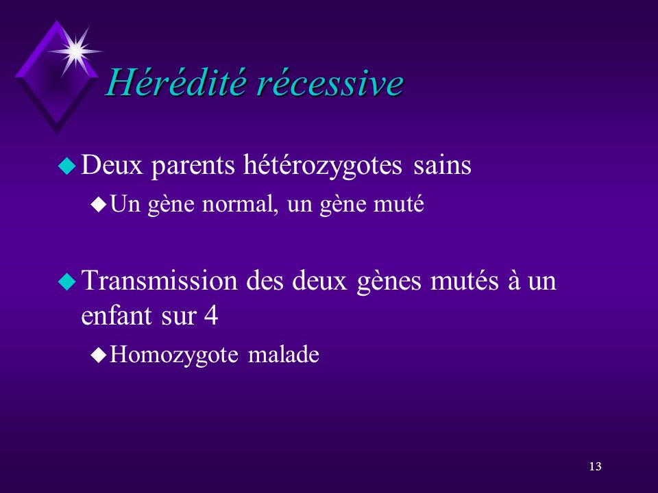 13 Hérédité récessive u Deux parents hétérozygotes sains u Un gène normal, un gène muté u Transmission des deux gènes mutés à un enfant sur 4 u Homozy
