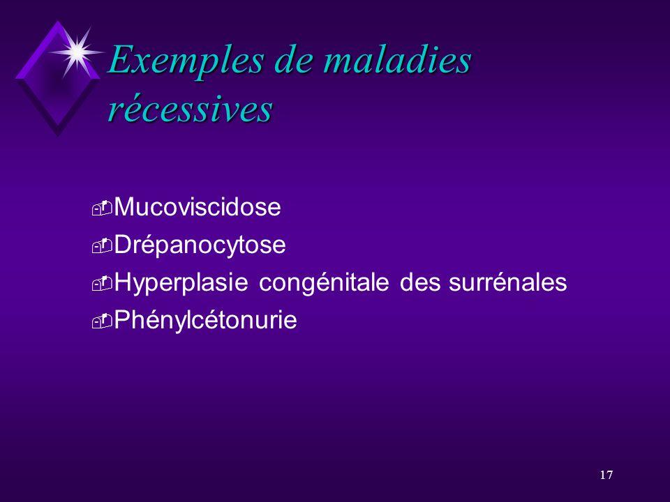 17 Exemples de maladies récessives - Mucoviscidose - Drépanocytose - Hyperplasie congénitale des surrénales - Phénylcétonurie