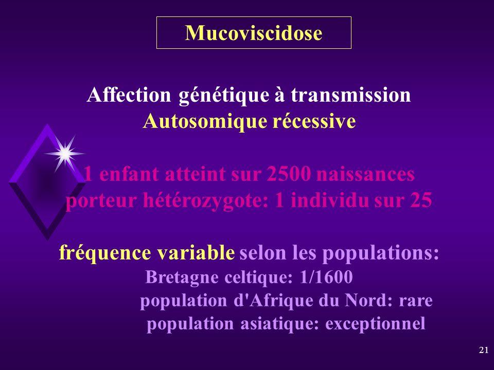 21 Affection génétique à transmission Autosomique récessive 1 enfant atteint sur 2500 naissances porteur hétérozygote: 1 individu sur 25 fréquence var