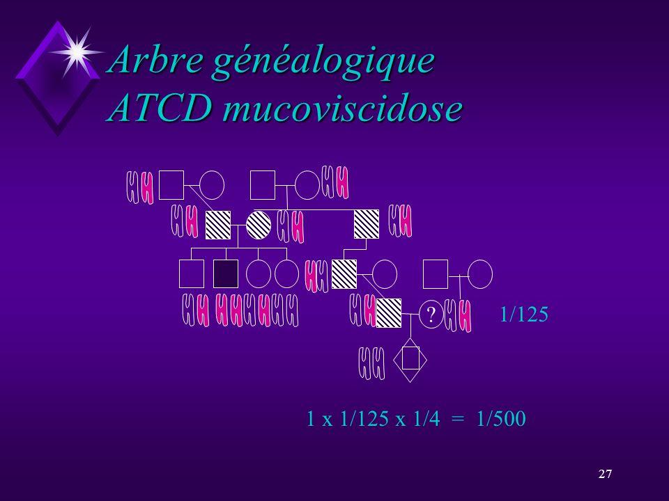 27 Arbre généalogique ATCD mucoviscidose 1/125 1 x 1/125 x 1/4 = 1/500 ?