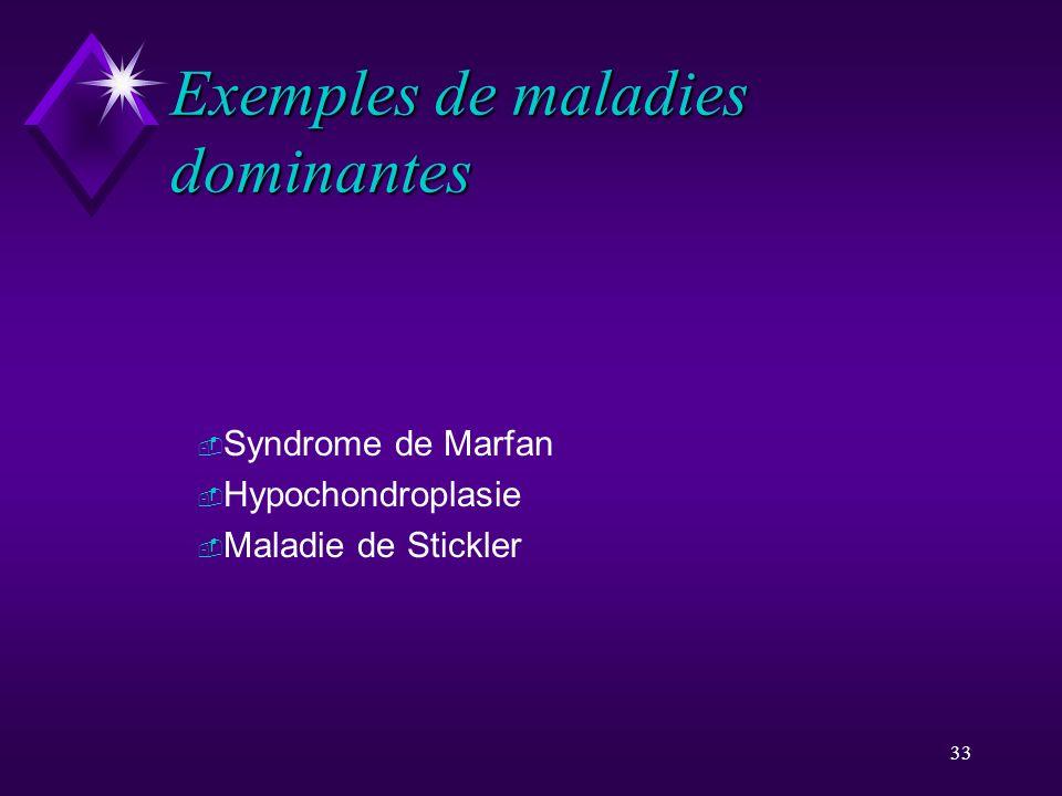 33 Exemples de maladies dominantes - Syndrome de Marfan - Hypochondroplasie - Maladie de Stickler