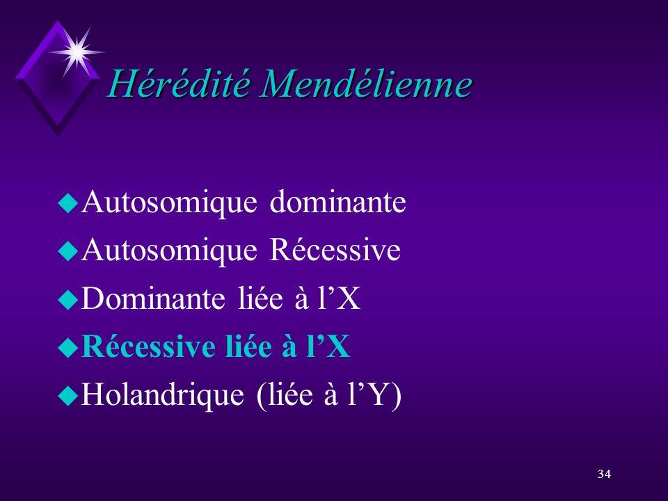 34 Hérédité Mendélienne u Autosomique dominante u Autosomique Récessive u Dominante liée à lX u Récessive liée à lX u Holandrique (liée à lY)