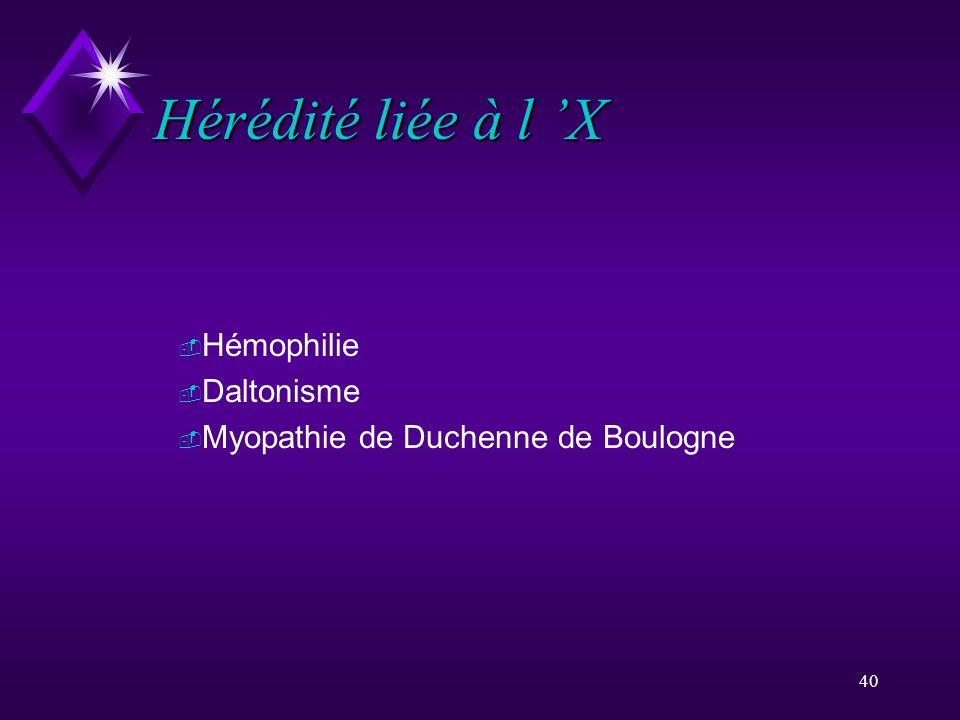 40 Hérédité liée à l X - Hémophilie - Daltonisme - Myopathie de Duchenne de Boulogne