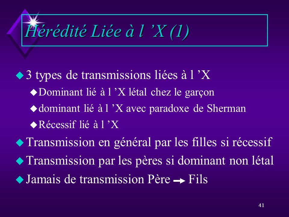 41 u 3 types de transmissions liées à l X u Dominant lié à l X létal chez le garçon u dominant lié à l X avec paradoxe de Sherman u Récessif lié à l X