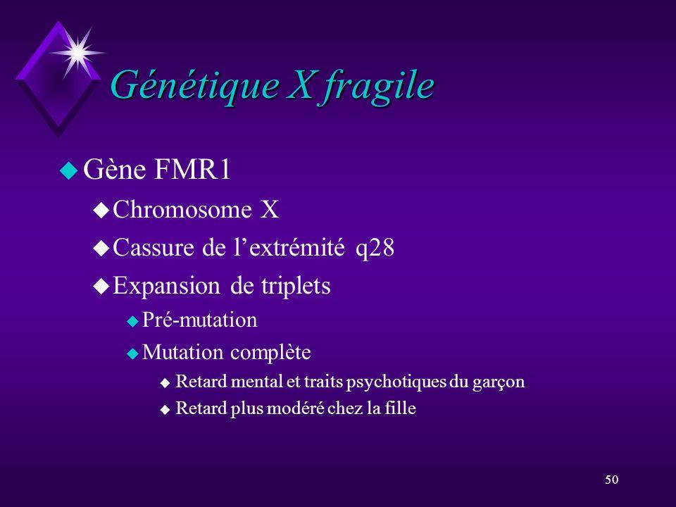 50 Génétique X fragile u Gène FMR1 u Chromosome X u Cassure de lextrémité q28 u Expansion de triplets u Pré-mutation u Mutation complète u Retard ment