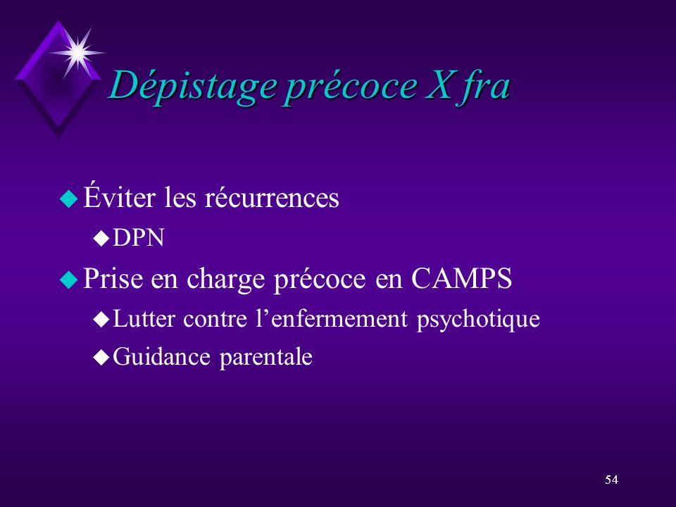 54 Dépistage précoce X fra u Éviter les récurrences u DPN u Prise en charge précoce en CAMPS u Lutter contre lenfermement psychotique u Guidance paren