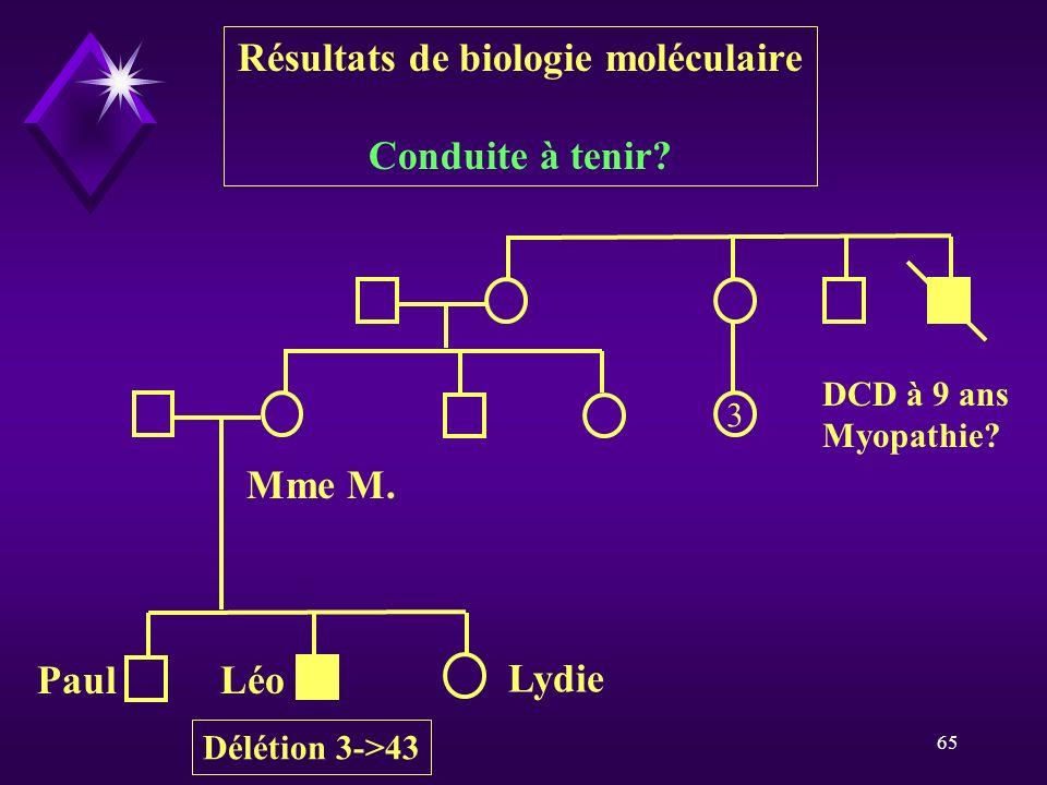 65 3 DCD à 9 ans Myopathie? LéoPaul Lydie Mme M. Résultats de biologie moléculaire Conduite à tenir? Délétion 3->43