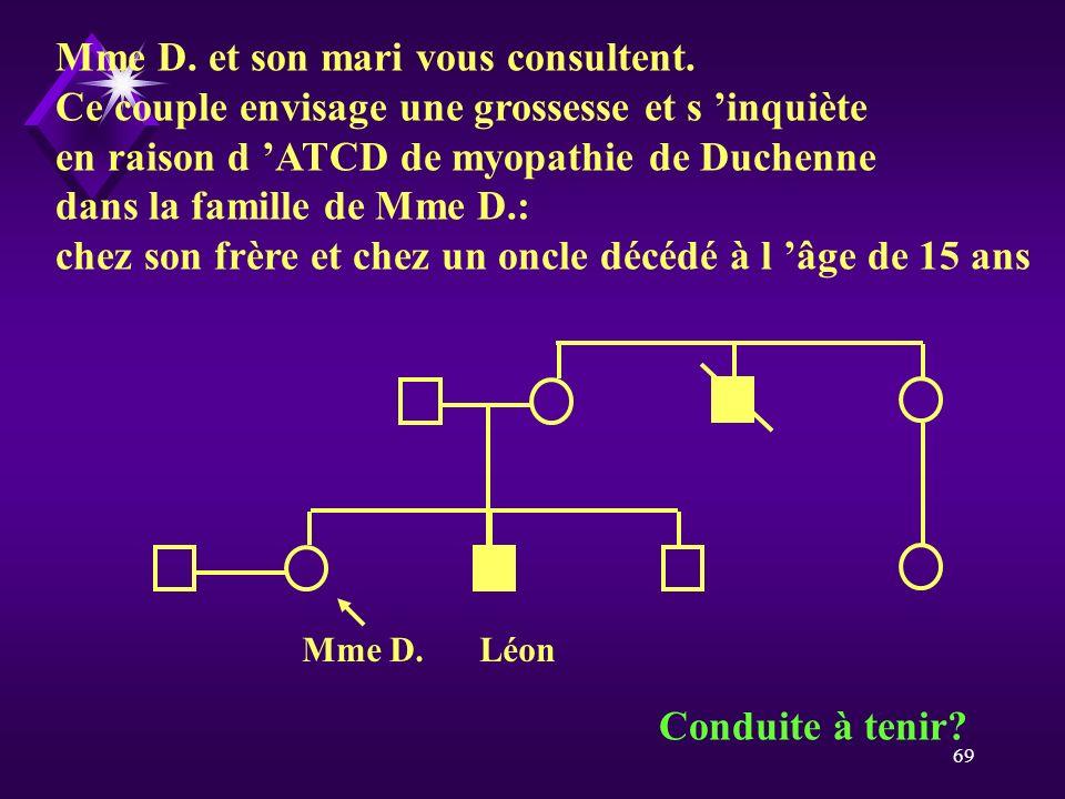 69 Mme D. et son mari vous consultent. Ce couple envisage une grossesse et s inquiète en raison d ATCD de myopathie de Duchenne dans la famille de Mme