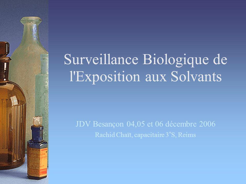 Surveillance Biologique de l Exposition aux Solvants JDV Besançon 04,05 et 06 décembre 2006 Rachid Chaït, capacitaire 3°S, Reims