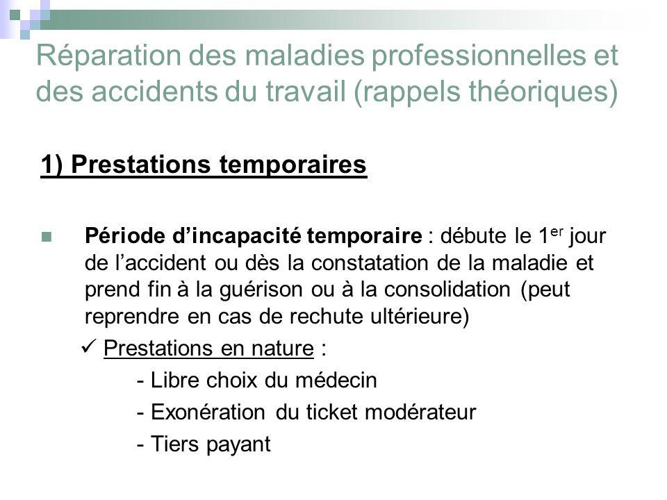 Réparation des maladies professionnelles et des accidents du travail (rappels théoriques) 1) Prestations temporaires Période dincapacité temporaire :
